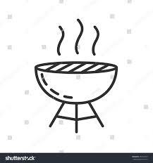 Brazier Design Brazier Icon Barbecue Thin Line Design Stock Vector Royalty