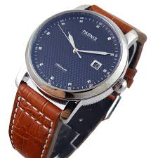 parnis blue regged dial automatic mens womens silver stainless steel watch adjustable brown leather strap