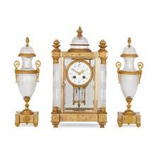 antique french gilt bronze and cut glass clock set