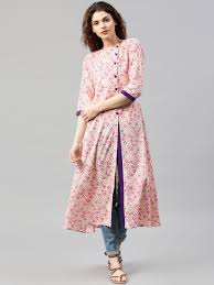 Ethnic Kurti Design Libas Cream Coloured Pink Floral Print A Line Kurta A