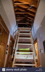 attic in house. pull down attic stairs trap door in hallway of upscale residential house usa t