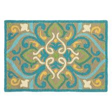 company c morocco aqua rectangular 2 ft x 3 ft indoor outdoor rug