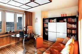 home office library design ideas. orange home office furniture and black bookshelves are modern interior decorating ideas library design g