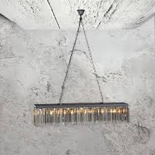 smoked glass rectangular chandelier