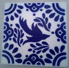 one vintage blue white dal tile square mexican talavera tile with bird