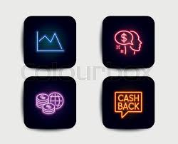 Neon Set Of Pay World Money And Line Stock Vector