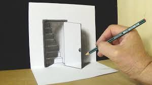 open door drawing perspective. The Door Illusion - Magic Perspective With Pencil VamosART Open Drawing D