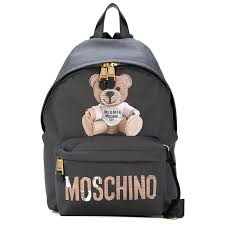 moschino paper bear womens large leather backpack black