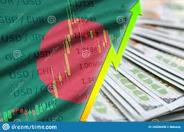 Bangladesh Flag And Chart Growing Us Dollar Position With A