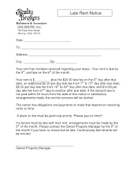 Rent Notice Letter Late Rent Notice Template Images Sample Late Rent Notice