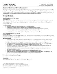 Resume Department Manager Resume