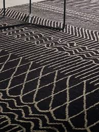 broken lines wool moroccan rug collection up close