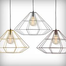 cult living geometric metal cage pendant light gold