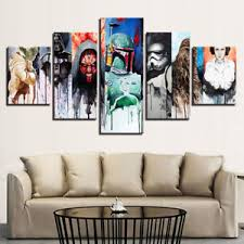 image is loading framed home decor star wars characters 5 panel  on star wars 5 panel canvas wall art with framed home decor star wars characters 5 panel canvas hd print wall