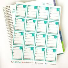 Printed Daily Food Log Stickers Diet Meal Planning Water