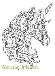 Head of a unicorn with a horn and mane. Unicorn Head Coloring Coloring Page My Little Pony Coloring Pages