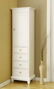 Narrow Linen Cabinet Corner Linen Cabinet Small Space Bathroom With Brown Oaken