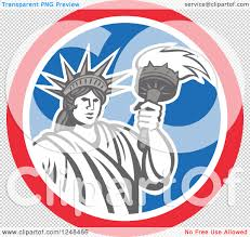 clipart of a retro statue of liberty a torch in a red white png file has a