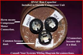 hvac how to replace the run capacitor in the compressor unit raised up out of the metal should be com herm and fan