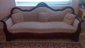 vintage victorian 3 seater sofa with white cushions and wooden frame plus pillow for small living room spaces ideas