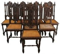 antique dining room chairs oak.  Antique 6 Antique Dining Chairs 1880 French Hunting Style Regal Carved Oak Cane  Seats With Room C