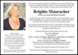 Traueranzeige Von Brigitte Mauracher Vom 10112012