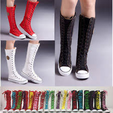 converse shoes for girls knee high. punk women girls shoes zip lace up boot canvas sneaker knee high black/white/ converse for