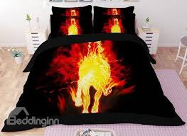 usd 60 09 stunning flaming horse print 4 piece polyester duvet cover sets