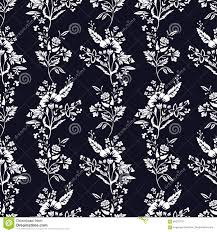 Abstract Bloemen Naadloos Patroon Bloemen Zwart Wit