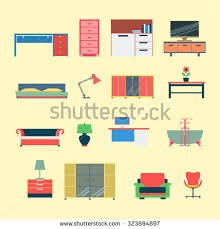 creative furniture icons set flat design. flat style modern creative furniture web app concept icon set website interior object vector icons design a