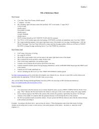 Mla Reference Sheet