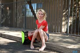 Amateur blonde teen Sammie Daniels fucking cock outdoors on.
