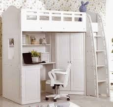 Bedroom : Alluring Twin Loft Bed With Desk And Storage Kids White ...