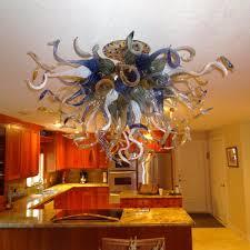 custom made hand blown glass chandelier lighting amber blue white