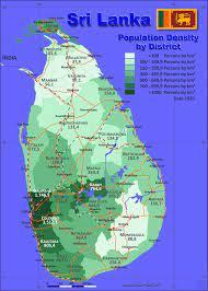 Sri Lanka Karte Bevölkerungsdichte und Verwaltungsgliederung