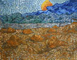 vincent van gogh landscape with wheat sheaves and rising moon oil painting reion