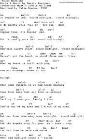 Round Midnight Chart Song Lyrics With Guitar Chords For Round Midnight Julie