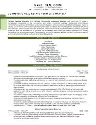 Sample Realtor Resume Commercial Real Estate Portfolio Manager