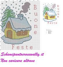 natale casetta con neve buone feste schema punto croce gratis - Schemi punto  croce gratis di Wally
