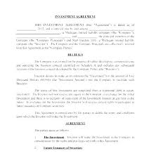 Business Investment Agreements Small Investor Agreement Template