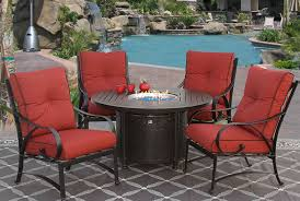 newport cast aluminum outdoor patio 5pc set 50 inch round dining fire table series 4000 with sunbrella henna cushion