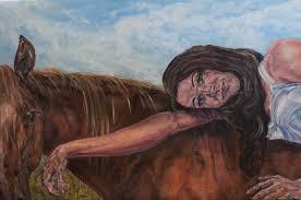 painting acrylic horse woman portrait
