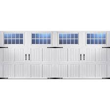 pella carriage house 192 in x 84 in insulated white double garage door with