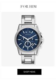 armani exchange brand store very co uk armani exchange blue dial brown leather strap mens watch