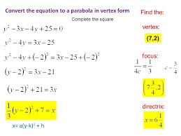 9 convert the equation to a parabola in vertex form x a y k 2 h find the vertex focus directrix 7 2 complete the square
