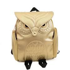 2017 newest stylish cool black pu leather owl backpack female women shoulder bag school bags fashion women backpack