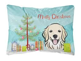 christmas tree and golden retriever fabric decorative pillow walmart