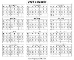Calendar Formats Blank 2019 Calendar Printable