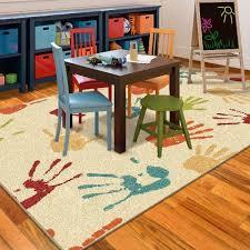 orian rugs handprints fun kids area rug playroom bright colors 53 x 76