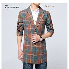 plus size 6xl 2018 plaid mens smart casual coats korean style overcoats fashion winter dress coat mens wool